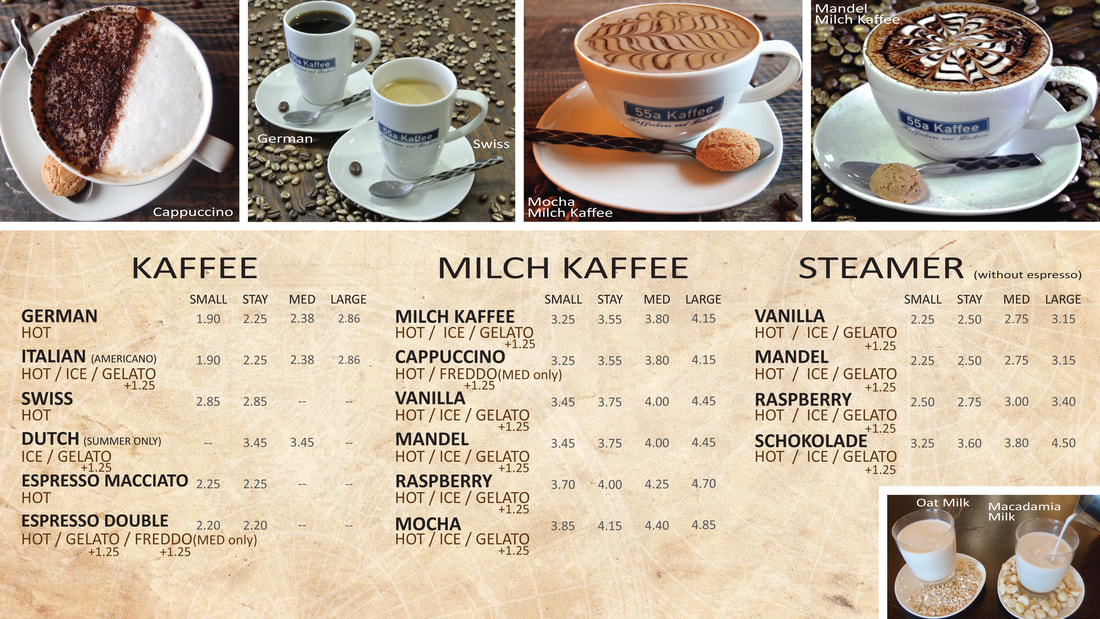 55a Kaffee Cold Drinks Menu